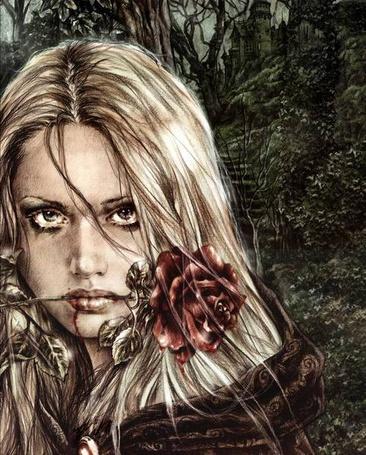 Фото Девушка-вампир с тоненькой струйкой крови на лице, на фоне дремучего леса, работа испанского художника Виктории Франсез / Victoria Frances