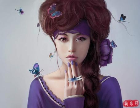 Фото Красивая девушка в окружении бабочек и стрекоз (© ColniwKo), добавлено: 17.12.2012 18:43