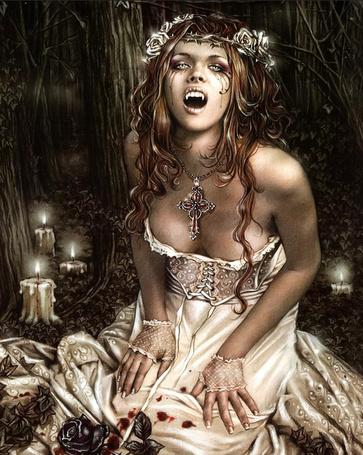 Фото Девушка-вампир, одетая в белое платье с пятнами крови, сидящая на фоне дремучего леса с горящими свечками, работа испанского художника Виктории Франсез / Victoria Frances