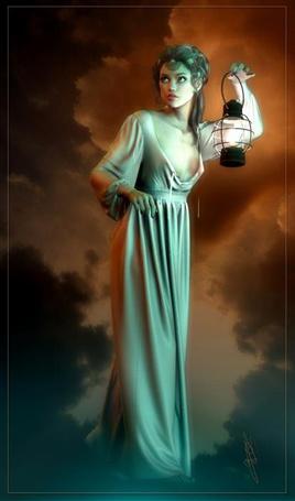 Фото Девушка-шатенка в длинном платье освещает  себе путь горящим фонарем, работа художницы Majorgaine (© Felikc), добавлено: 20.12.2012 06:11