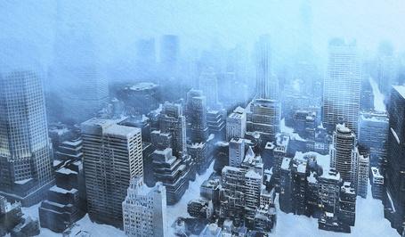 Фото Небоскребы во время сильного снегопада с высоты птичьего полета