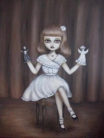 Фото Девушка сидит на стуле держа на руках кукол (© Флориссия), добавлено: 24.12.2012 19:25