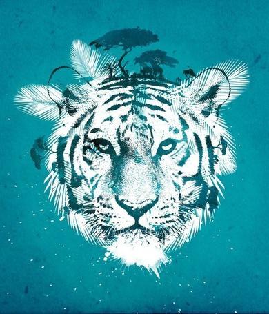 Фото Морда тигра в роли панорамы животных и растений