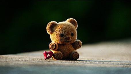 Фото Маленький медвежонок с сердечком сидит на асфальте (© Nuts), добавлено: 28.12.2012 18:33