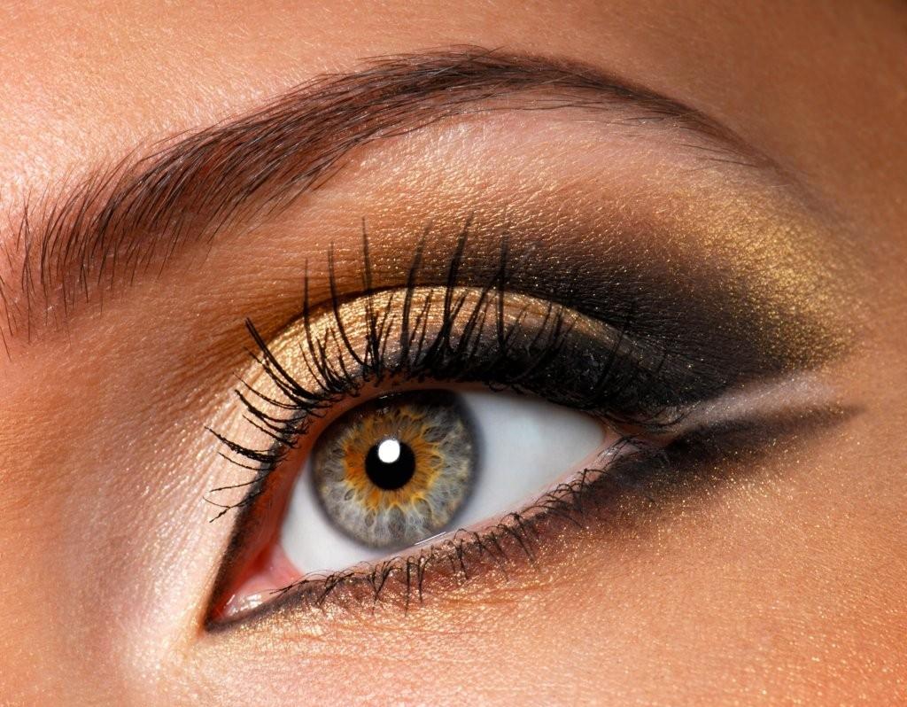 золотые тени макияж