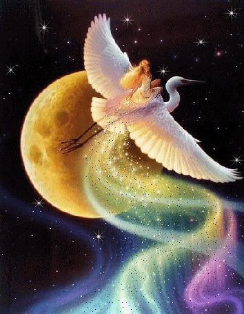 Фото Девушка на аисте летит на фоне радуги от Луны