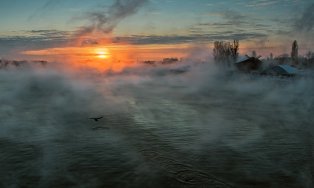 Фото Морозное утро на реке Кубань (© Anatol), добавлено: 04.01.2013 03:57