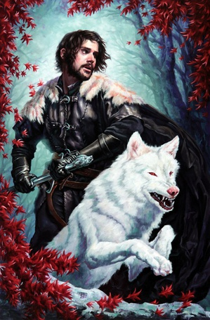 Фото Храбрый воин со свирепым белым волком, художник Michael-C-Hayes