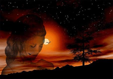 Фото Красивый лик девушки-шатенки с закрытыми глазами на фоне багряного заката солнца, мерцающего звездного неба, парящих птиц