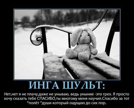 Фото Игрушечный заяц сидит на заснеженной скамейке (Нет,нет я не плачу, даже не унываю, ведь уныние - это грех. Я просто хочу сказать тебе СПАСИБО, ты многому меня научил. Спасибо за тот *полет* души, который ощущаю до сих пор)
