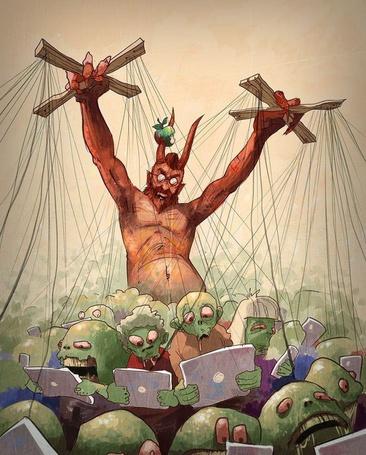 Фото Дьявол - Стив Джобс / Steven Jobs с яблоком на роге управляет марионетками - зомби с планшетами в руках, работа Сергея Свистунова