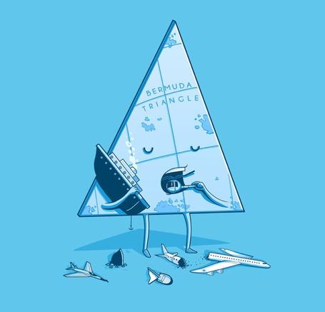 Фото Bermuda Triangle / Бермудский треугольник кушает самолеты, вертолеты и корабли, рисунки художника Nacho Diaz