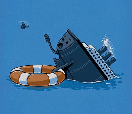 Фото Тонущий корабль держится за спасательный круг и просит помощи у вертолета, рисунки художника Nacho Diaz