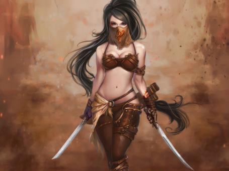 Фото Девушка с двумя мечами