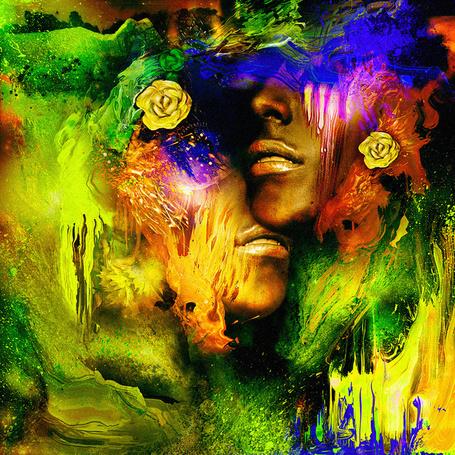 Фото Губы влюбленных среди цветов и желто-зеленой краски, иллюстратор Diego L. Rodr