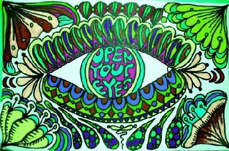 Фото Нарисованный глаз в зрачке которого написано Open Your Eyes / открой свои глаза