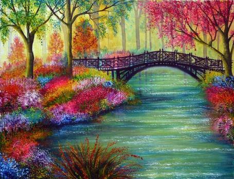 Фото Цветущий сад, мост через реку (© Флориссия), добавлено: 14.01.2013 14:42