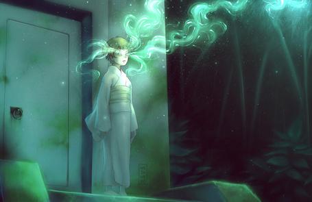 Фото Ребенок в белом одеянии стоит в пустой комнате и мечет молнии из глаз, Art by Mezamero