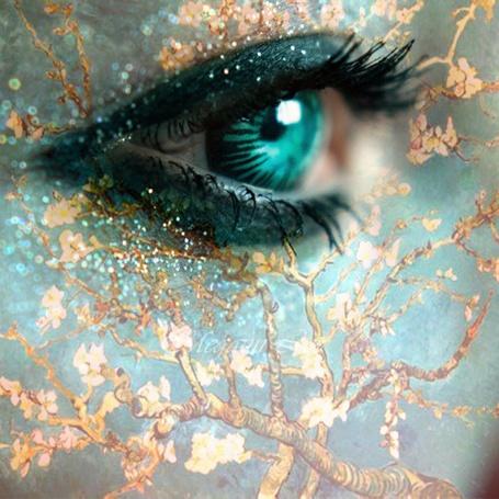 Фото Зеленый глаз и ветка с листочками
