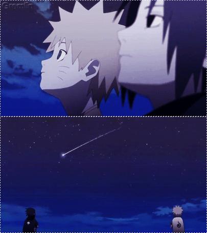 Фото Наруто / Naruto и Саске / Sasuke из аниме Наруто / Naruto загадывают желание на падающую звезду