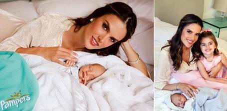 Фото Модель Алессандра Амбросио / Alessandra Ambrosio с дочкой Аней / Anja и новорожденным сыном Ноа /  Noah в рекламе подгузников Pampers