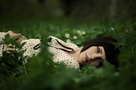 Фото Девушка, с короткими чёрными волосами и в белой кофточке в чёрный горошек, лежит на траве, фотограф Владимир Бочков / Vladimir Bochkov