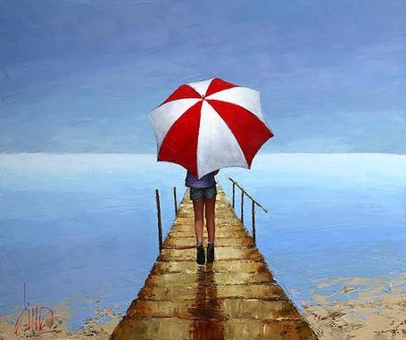 Фото Девочка с зонтом на помосте у реки
