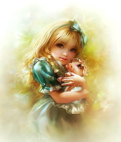Фото Девочка с поросенком, одетым в чепчик и платье