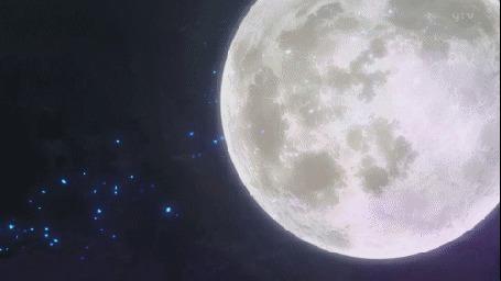 Фото Синее сияние на фоне огромной луны
