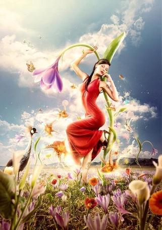 Фото Девушка на цветке в окружении птичек, рыбок, бабочек (© ), добавлено: 31.01.2013 16:28