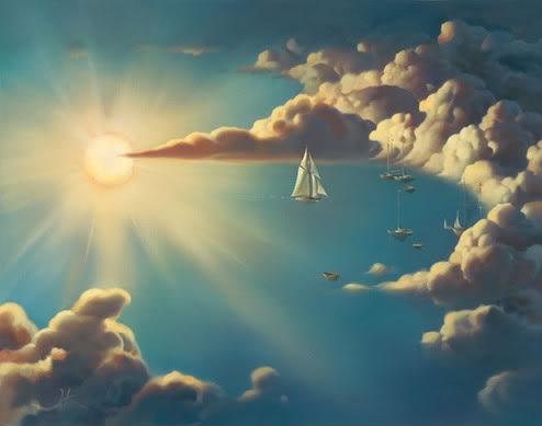 Фото яркое солнце облака и кораблики
