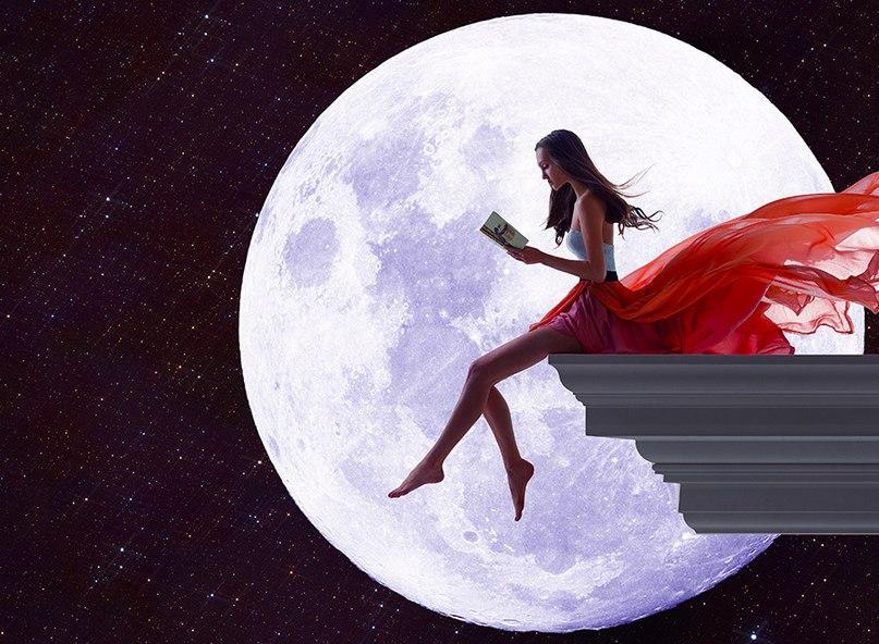 Девушка при луне рисунок