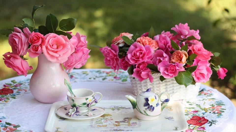 На столе на природе блюдце с чашкой и
