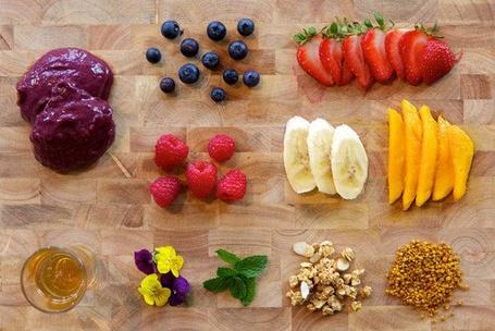 Фото Нарезанные фрукты: клубника, бананы, манго, мороженое, черника, малина, орехи, мята и анютины глазки, разложены на столе (© Black Tide), добавлено: 01.02.2013 21:16