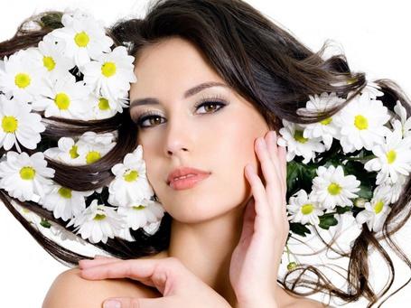 Фото У девушки-брюнетки в волосах цветы ромашки (© Felikc), добавлено: 05.02.2013 11:23