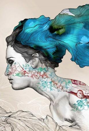 Фото Девушка с синими волосами, художник Габриэль Морено / Gabriel Moreno
