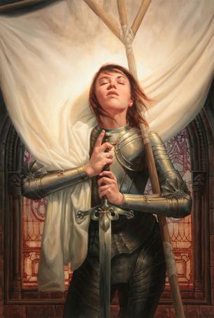 Фото Жанна д'Арк  с мечем в руках подняла голову вверх by Michael-C-Hayes