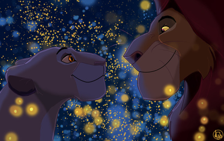 Фото Муфаса и Сараби из мультфильма Король Лев / The Lion King смотрят друг на друга в окружении множества светлячков, by dyb