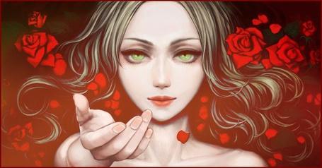 Фото Девушка в розах протягивает руку