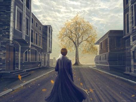 Фото Парень в плаще с кошкой на плече смотрит на дерево стоящее среди домов на улице, из игры 'Мор (Утопия)' / 'Pathologic'