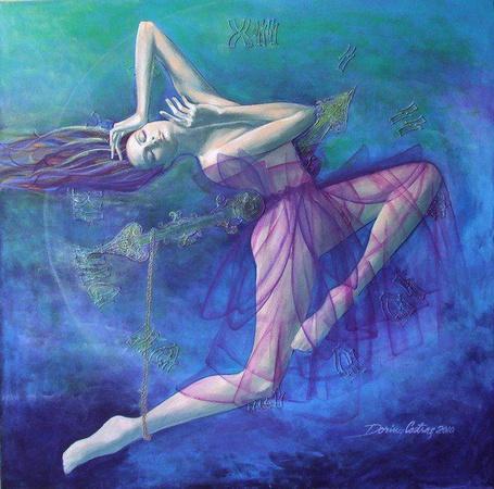 Фото Печальная девушка на фоне огромного циферблата, одной ногой повисла на веревке, зацепленной на стрелке, художник Dorina Costras