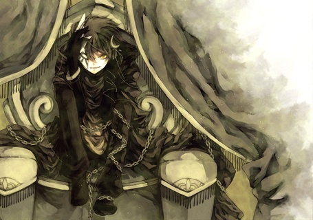 Фото Парень демон в цепях сидит на троне, арт мангаки Аошики / art by Aoshiki