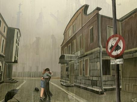 Фото Парень с девушкой обнимаются на улице под дождем. Кадр игры Мор (Утопия)