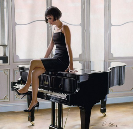 Фото Девушка сидит на черном рояле, художник Роб Хэффера / Rob Hefferan