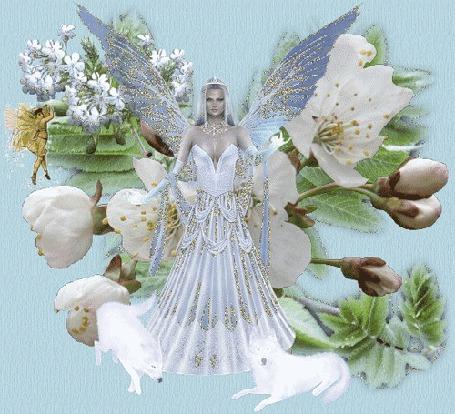 Фото Волшебная фея в голубом длинном платье,у ног белые волки,а за спиной белые цветы