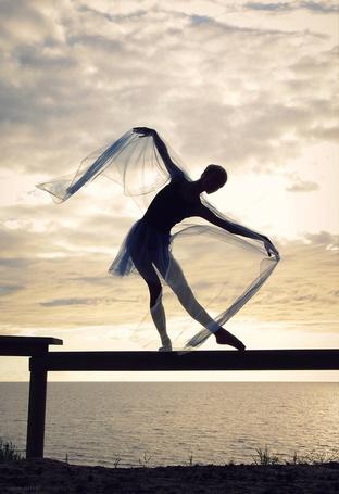 Фото Балерина стоит на заборе, в виде перекладины, на фоне облачного неба
