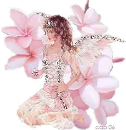 Фото Фея вокруг розовых цветов сидит
