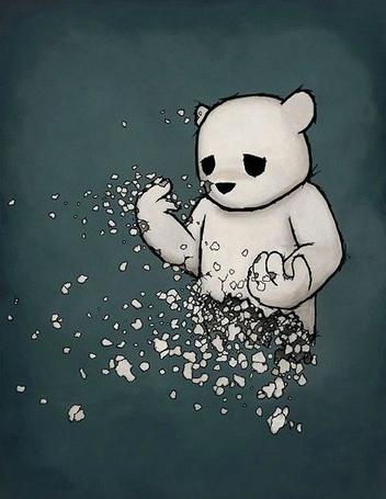 Фото Белый печальный медвежонок рассыпается на множество кусочков, автор Luke Chueh