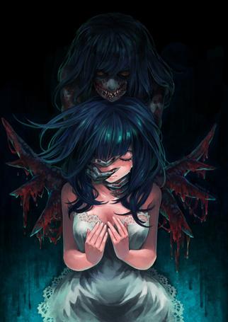 Фото Плачущая девушка и монстр за ее спиной, художник под псевдонимом Zunaki