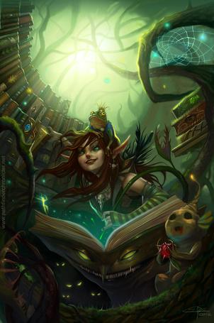 Фото Рисунок эльфийка с открытой волшебной книгой и лягушкой на голове